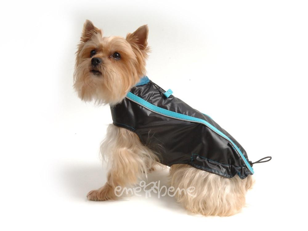 Ene Bene obleček - pláštěnka pro psa Teri černo tyrkysová - bez rukávků XS