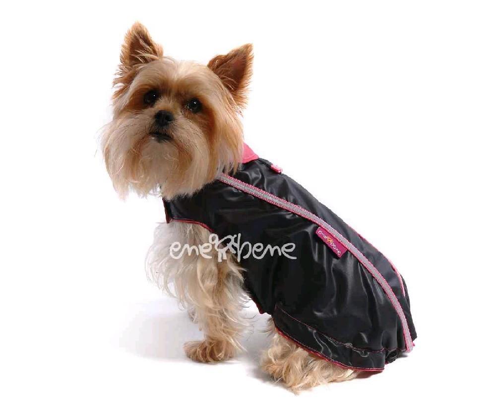 Ene Bene obleček - pláštěnka pro psa Teri černo růžová - bez rukávků XS