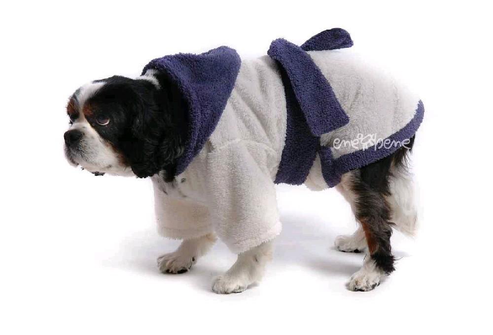 Ene Bene obleček - župan pro psa bílo - fialový XS