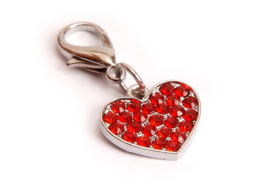 Ene Bene přívěsek pro psa srdíčko s kamínky červené srdce