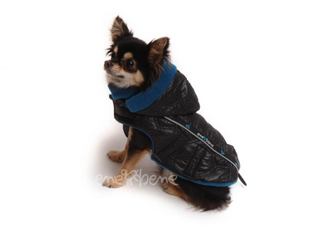 Ene Bene obleček - bunda pro psa Alex černo petrolejová s reflexními prvky XS