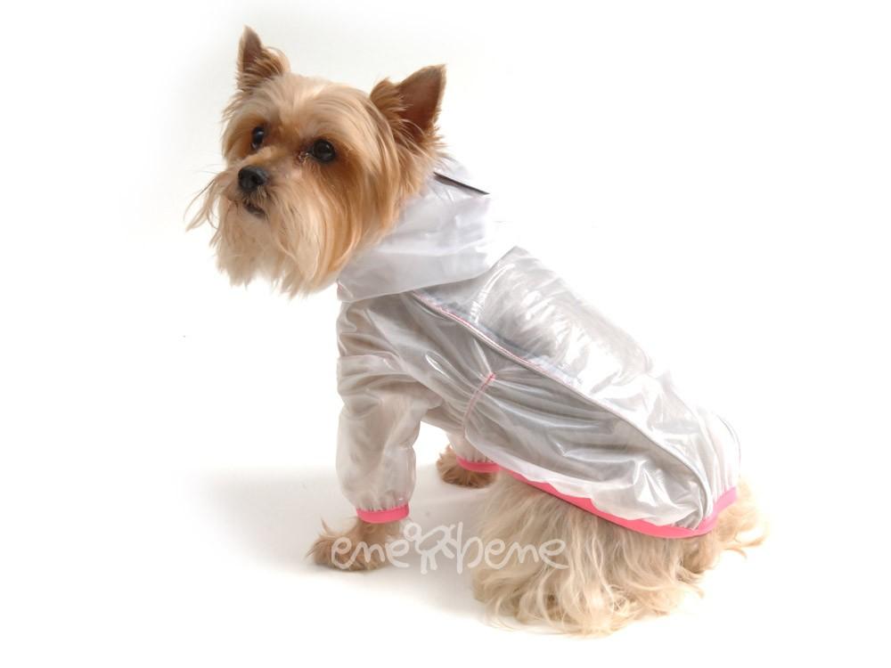 Ene Bene obleček - pláštěnka pro psa Tara s rukávky růžový lem S