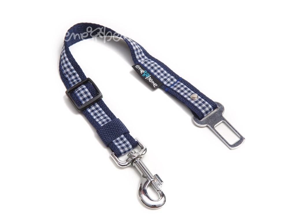 Ene Bene bezpečnostní pás do auta pro psa káro modré, š.2,5 cm M - L