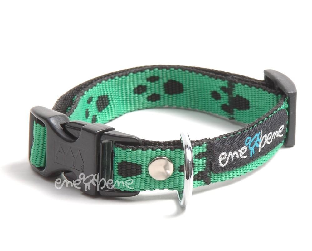Ene Bene psí obojek zelená tlapka, š. 1,5 cm XS