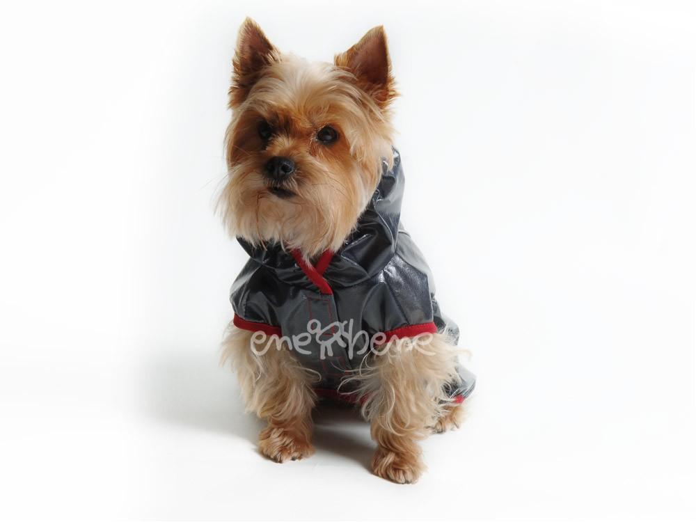 Ene Bene obleček - pláštěnka pro psa Tami černá, červený lem S