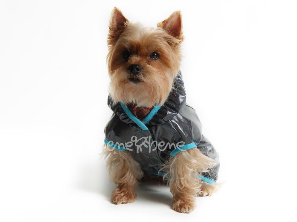 Ene Bene obleček - pláštěnka pro psa Tami černá, tyrkysový lem M