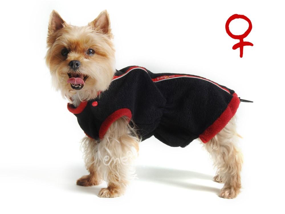 Ene Bene obleček - mikina pro psa Danny černo červená - fenka XS