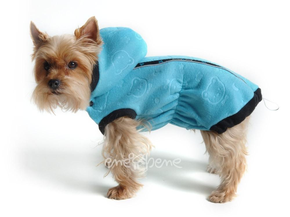 Ene Bene obleček - mikina pro psa Danny tyrkysová s kapucí XS