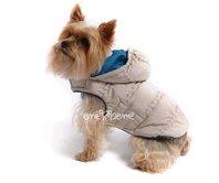 Obleček - bunda pro psa Šón béžovo petrolejová s kapucí zdobená