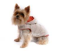 Obleček - bunda pro psa Šón béžovo oranžová s kapucí zdobená