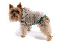Obleček - bunda pro psa Šón béžovo tyrkysová s kapucí zdobená