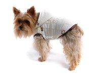 Obleček - bunda pro psa Šón bílo hnědá s kapucí