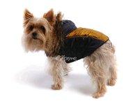 Obleček - bunda pro psa Ben zlato černá s kapucí a kožešinou