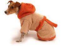 Obleček - župan pro psa hnědo - oranžový