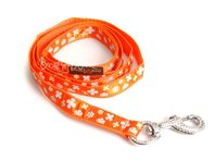 Vodítko pro psa, š. 2 cm, oranžové s kytičkami