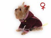 Obleček - mikina pro psa Zonny s kapucí vínovo růžová - fenka