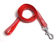 Vodítko pro psa káro červené, š. 2 cm