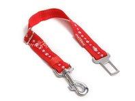Bezpečnostní pás do auta pro psa tlapka červená, š. 2,5 cm