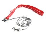 Vodítko pro psa - hadí řetízek - červená tlapka