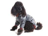 Obleček - pláštěnka pro psa Tara černá, červený lem