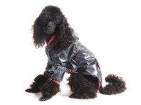 Obleček - pláštěnka pro psa Tara černá, růžový lem