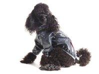 Obleček - pláštěnka pro psa Tara černá, šedý lem