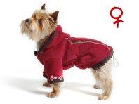 Obleček - mikina pro psa Zonny s kapucí červeno hnědá - fenka