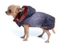Obleček - bunda pro psa Mia černohnědá s kapucí