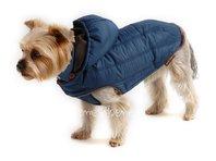 Bunda pro psa Šón petrolejová s kapucí