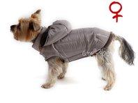 Bunda pro psa Šón béžovo šedá s kapucí  fenka