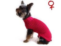 Obleček - svetr pro psa Míša tm. růžový