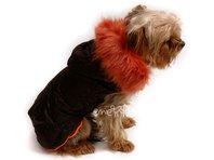 Obleček- bunda Mia hnědo oranžová  s kapucí a kožešinou